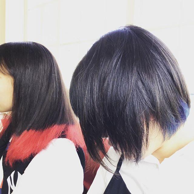 赤レンジャー、青レンジャー(^-^)v #初カラー#初ブリーチ #原色 #やりたい事やってみよう #卒業 #これからプリクラ
